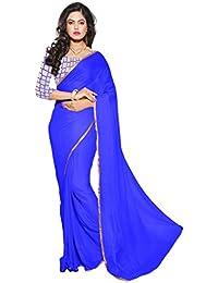 AAR VEE Women Nazmin Saree With Blouse Piece (GM2_Blue & Beige)