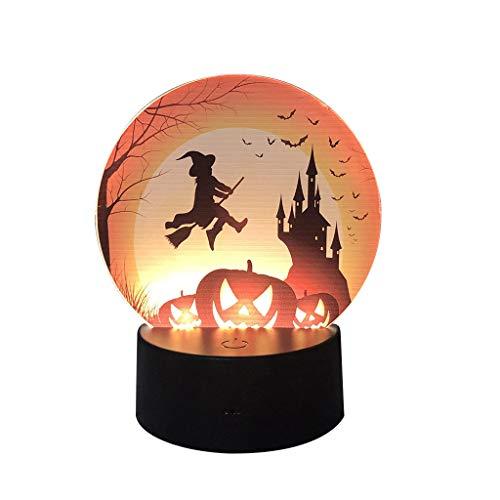 ten,Nourich LED Halloween Kürbis Schläger Muster Nachtlicht Szenen Plan Stützt Nachtlicht Lichterkette Lichterkette Gartenlichter Nachtleuchte Nachtlampe (B) ()