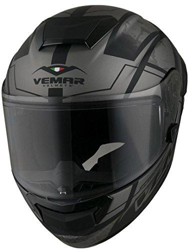 Vemar Casco Moto Hurricane Claw Matt Dark Argento (Xxl, Argento)