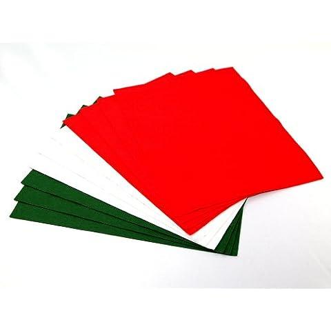 FYBA - 10 fogli di feltro, colore rosso/bianco/verde - Feltro Bianco