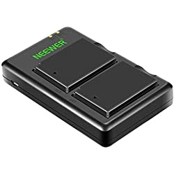 Neewer Kit Chargeur de Batterie LP-E10 pour Canon EOS Rebel T3 T5 T6 Kiss X50 X70 X80 X90 1100D 1200D 1300D 1500D 2000D 3000D (Lot de 2 Batteries de Rechange, Chargeur Bouble USB)