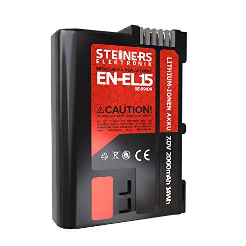 Steiners Elektronik Akku für Nikon EN-EL15a/EN-EL15 | Kompatibel mit Nikon DSLR D7200 D750 D500 D7000 D800 D810 D810e D600 D610 D7100 D850 D7500 1 V1 | 2000 mAh | 7 V | 14 WH - mit Infochip