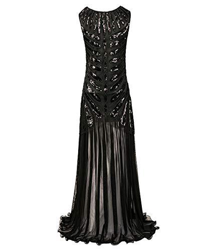 ahre Prom Fransen Pailletten Lange Flapper brüllen Gatsby Kleid für Charme Prom Party inspiriert Cocktail Flapper Kleid,Black,L ()