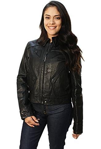 Polo Ralph Lauren Veste Moto en cuir véritable pour femme