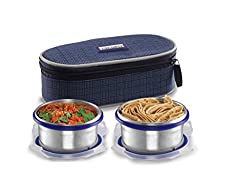 Smart lock Classic Steel Airtight Tiffin pack with insulated Bag, 200 ml, Silver, Set of 2