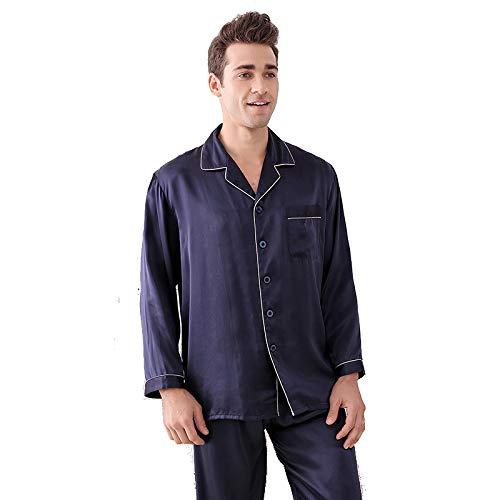 Herren 100% Seide Langarm Schlafanzug Set Nachtwäsche Classic PJ Set Nachtwäsche Loungewear Button-Down PJ Set,Blue,XXL - Button-down Pj Set