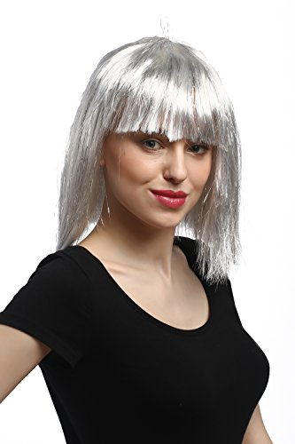 WIG ME UP - 90658-ZA68-silver Perücke Damen Karneval Halloween Schulterlang Pony Glatt Silber Grau mit Glitzer Lametta Disco Cyborg