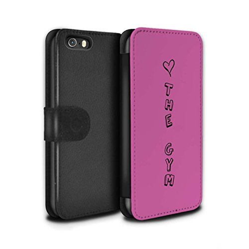 Stuff4 Coque/Etui/Housse Cuir PU Case/Cover pour Apple iPhone SE / Bleu/Amour du Vin Design / Coeur XOXO Collection Pink/Aime la Gym