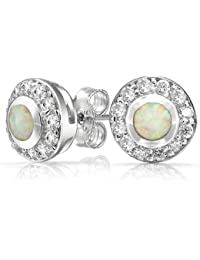 Bling Jewelry Round Simulated White Opal October Birthstone Stud earrings 925 Sterling Silver 10mm