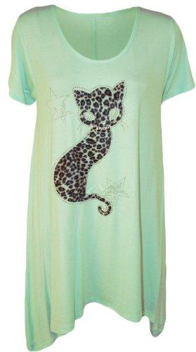 WearAll Donna Plus Dimensioni gatto a lobo a maniche corte da donna orlo a fazzoletto t-shirt tunica top–Misure 14–28 verde menta