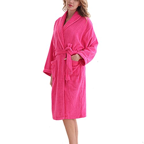 Zhhlaixing Summer Lovers Flannel Neutral Super Soft Luxury Robes Dressing Pyjamas Gown Rose Red