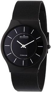 Reloj de caballero Skagen Slimline 233LTMB de cuarzo, correa de acero inoxidable color negro de SKAGEN