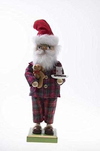 Clever Creations - Traditioneller Weihnachtsmann-Nussknacker im Schlafanzug - Sammlerstück - Festliche Weihnachtsdeko - mit Milch, Keksen und Teddybär - 100% Holz - 30,5 cm (Teddybären Sammlerstücke)