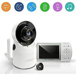 """HVRSTVILL Babyphone Video Caméra, 3.5"""" HD Moniteur Bébé Sans Fil avec Rotation 355°, Vision Nocturne, Communication Bidirectionnelle, Surveillance de la Température, Longue Portée, Rechargeable"""