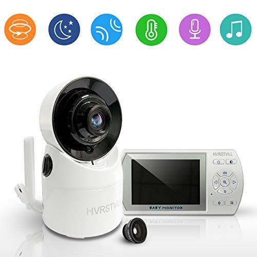 HVRSTVILL Babyphone Video Caméra, 3.5' HD Moniteur Bébé Sans Fil avec Rotation 355°, Vision Nocturne, Communication Bidirectionnelle, Surveillance de la Température, Longue Portée, Rechargeable