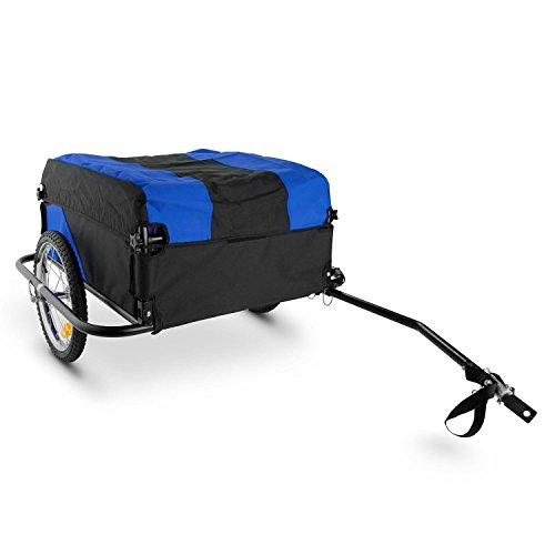 """Duramaxx Mountee rimorchio bici (130litri, 60kg, camera d'aria con valvola automatica, copertura in nylon, pneumatico da 16"""" con resistenti raggi in acciaio, catarifrangenti, pieghevole) - blu"""