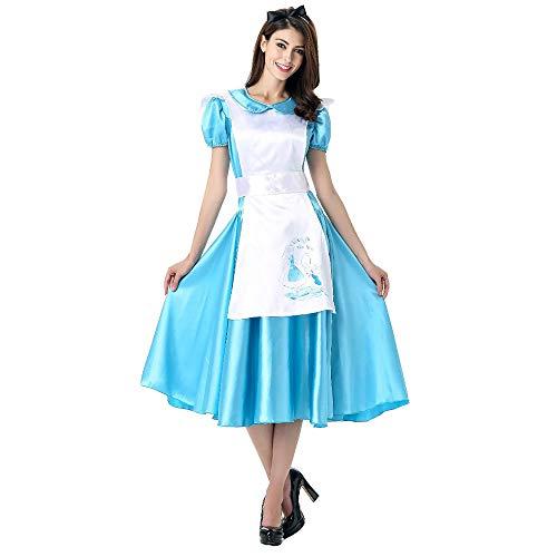 Damen Halloween Kostüm Alice im Wunderland Cosplay Prinzessin Kleid (inklusive Kopfbedeckung + Langer Rock + weißer Schürze),Blue,M