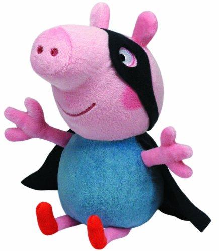 Carletto Ty 7196282 Peppa Pig TY 7196282-Peppa Large-George Superheld, Schwein mit Augenmaske und Umhang, 25 cm, rosa