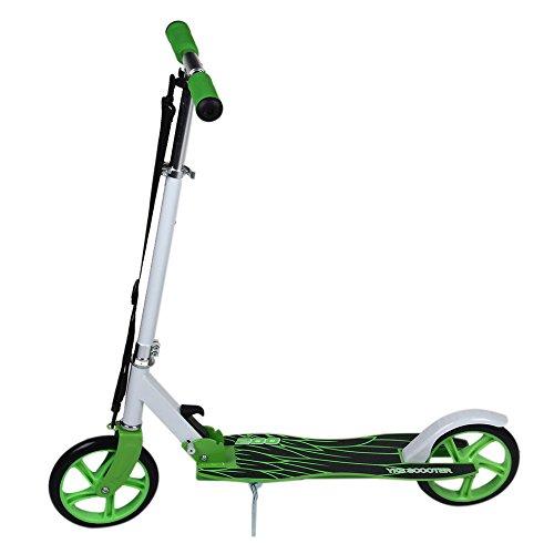Homgrace Monopattino Scooter Pieghevole a 2 Ruote, Altezza e Manubrio Regolabile, Carico 120 kg per Adulti (Verde)