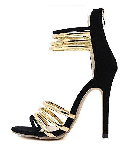 Gold Sandalen Metall Römisch Aisun Schwarz Knöchelriemchen Damen Stiletto qnp7p1Ux