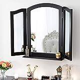Chende Grand Miroir Triple Pliable avec Base, Miroir Triptyque Maquillage en Bois pour Coiffeuse, Miroir de Table ou Triple Miroir Mural Noir, Trois Miroir Rabattable Style Hollywood (84cm x 62cm)