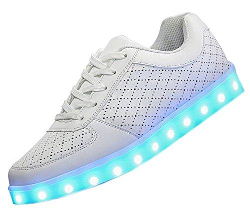 Dayiss 7 Farbe USB Aufladen LED Leuchtend Sportschuhe Sneaker Schnürschuh Turnschuhe Partyschuhe für Unisex-Erwachsene Herren Damen (mit Licht Schuhband) Weiß