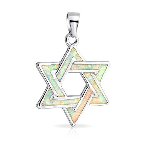 Chanukka David Stern Magen jüdischen Anhänger weiß Opal Inlay Halskette für Frauen 925 Sterling Silber 16 Zoll erstellt