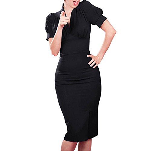 JOTHIN 2017 Frauen V-ausschnitt Wickelkleid Knielang Damen Business Kleider/Bodycon Bleistiftrock Schwarz