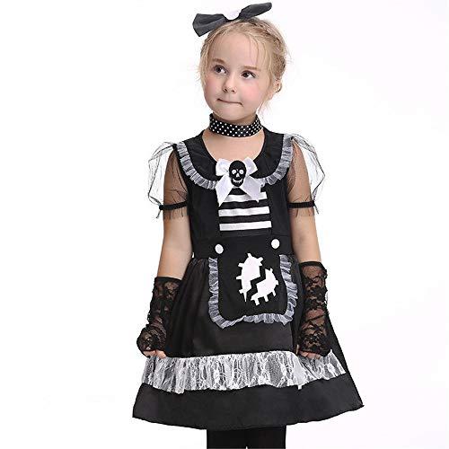 FDHNDER Child Cosplay Kleid Verrücktes Kleid Partei Kostüm Outfit Performance Kostüm Mädchen Magd kostümierte Tanzkostüm, XL (Höhe 125cm-135cm)