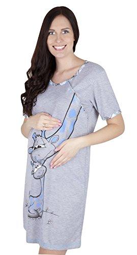 Mija - 2 in1 Hübsches Stillnachthemd & Umstandsnachthemd Nachthemd 2050 Blau