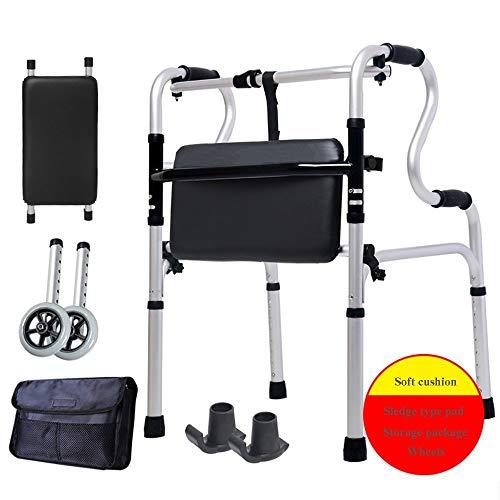 LAZ Rollstuhl-Walker for Senioren mit Sitz Folding Slides Roll Ultra-Walkers mit Rädern und Handgriff Leicht Badewanne Stuhl for Frau und Mann -