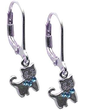 SL-Silver Ohrringe Katze Kristal