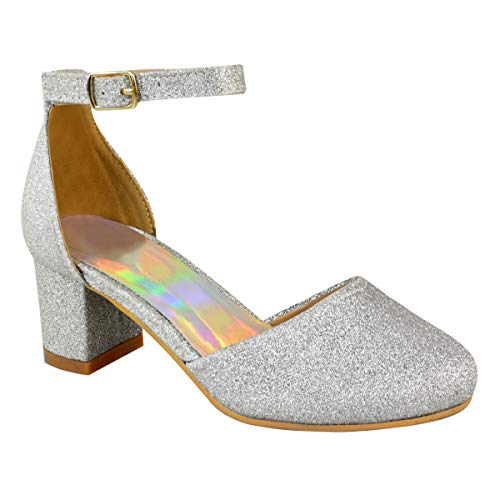 981383245da Childrens Girls Kids MID Low HIGH Heel Diamante Party Shoes Bridal Sandals  Size (Kids UK 2 / EU 35 / US 4, Silver Shimmer Glitter)
