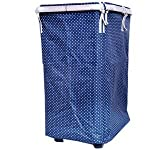 ONE STOP SHOP Brings Multipurpose European Style Fold-able collapsible Single Compartment Polka dot pattern Laundry Bag / Hamper / Basket with Mesh cover, metal rim and Wheels. Metal Frame with Removable Canvas Bag. Size: 30 X 50 X 70 cm. (Color: Navy Blue)