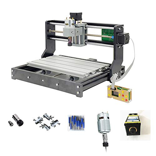 DIY CNC 3018 PRO Router with 5500mw Laser Module and Offline controller GRBL Control LaserGRBL for PCB Wood Milling Engraving Machine+10pcs 3.175mm Carbide End Mill Engraving Bit Sets Best Toy - Pre-painted Kit