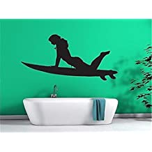 pegatinas de pared tortugas ninja Sexy Girl Surfer en tabla de surf Slim Athletic Figure