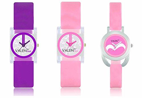 victance new aditon stlist watches with colorfull combination and multicolor dial and belt watches for girls and women combo (pack of 3 watches)