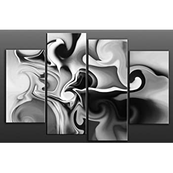 Large grey abstract canvas artwork 4 pieces multi panel split canvas completely ready to hang hanging