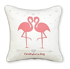 Idea Regalo - We Do Pink Flamingo cuscino wedding Hearts Sweet Gift 30 cms x 30 cms lavabile