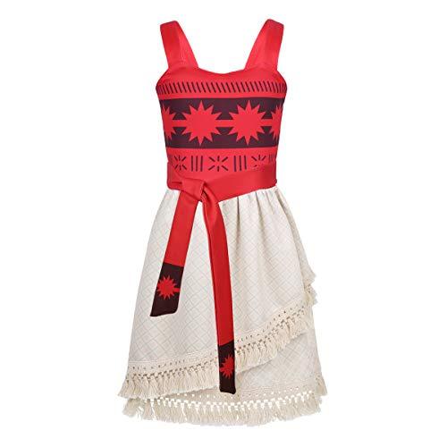 Freebily Mädchen Frühling Sommer Kleider Cartoon Kostüm Retro Kleid Prinzessin Kleid für Cosplay Kostüm Alltags Karneval in Gr.92-128 Rot 110-116/5-6 Jahre
