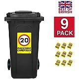 20MPH velocidad señales [9x Pack]–A4pegatinas de vinilo, fondo de color amarillo ideal para cubos de la basura