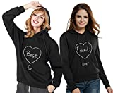 Best Friends Hoodies Sweatshirt BFF Pullis Partner Pullover Beste Freunde Für Zwei Kapuzenpullover Damen Herbst Geschenk 2 Stücke(Schwarz,Best-M+Friends-M)