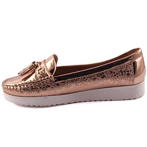 Unze Neue Frauen 'Ellen' Casual Quaste Akzentuierte Bequem Karneval Slip On Mokassin Patent Vamp Get Together Office Flat Müßiggänger Schuhe Größe 3-8 - JMY89-D4 Rosen-Gold