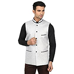 QDesigns Mens Nehru Jacket (WJ_17_Silver & Black_36)