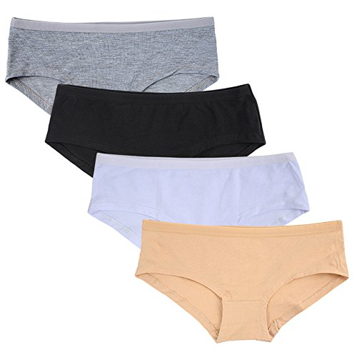 Closecret Dessous Damen 4er Pack Comfort Soft Boyshort Cotton Höschen Unterwäsche (4 Farben, S) -