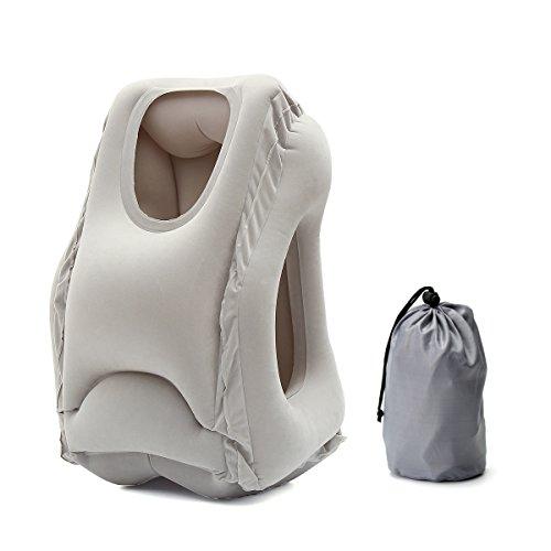 Baban Almohada de Viaje/Almohada Inflable/Almohada Plegable, Con una bolsa de cordón per aviones, automóviles, aulas, oficinas,Gris
