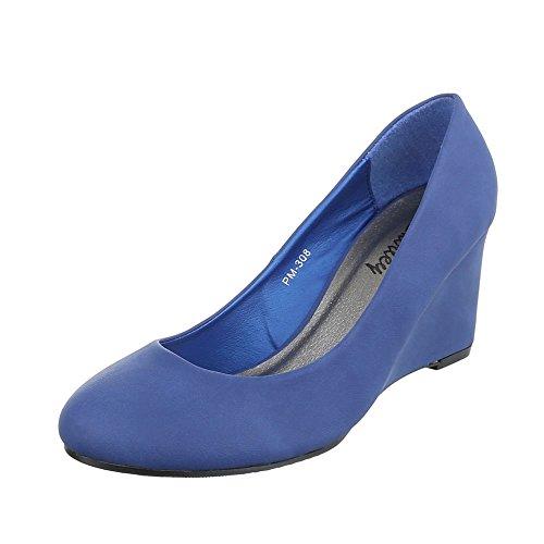 Ital-Design - Scarpe con plateau Donna Blau PM-308