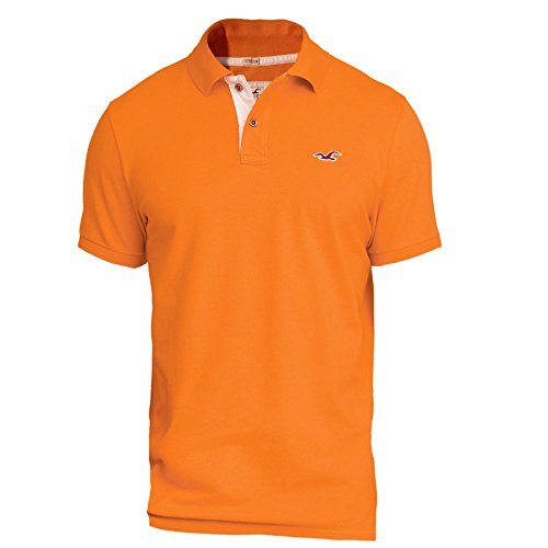 hollister-homme-stretch-slim-fit-pique-polo-top-shirt-courte-taille-medium-orange-626374952
