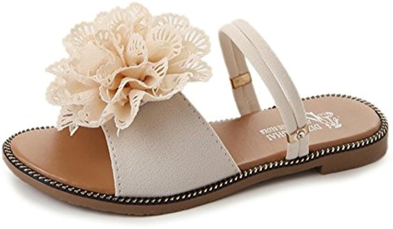 SHINIK Chaussures femmes pour femmes Chaussures PU pantoufles de confort d'été et tongs talon plat Open Toe pour blanc, vert, fleurs...B07D6VBRYZParent bcf642