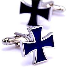 BOBIJOO Jewelry - Gemelos Cruz de Malta Esmalte Azul Oscuro Templario Caballero Acero